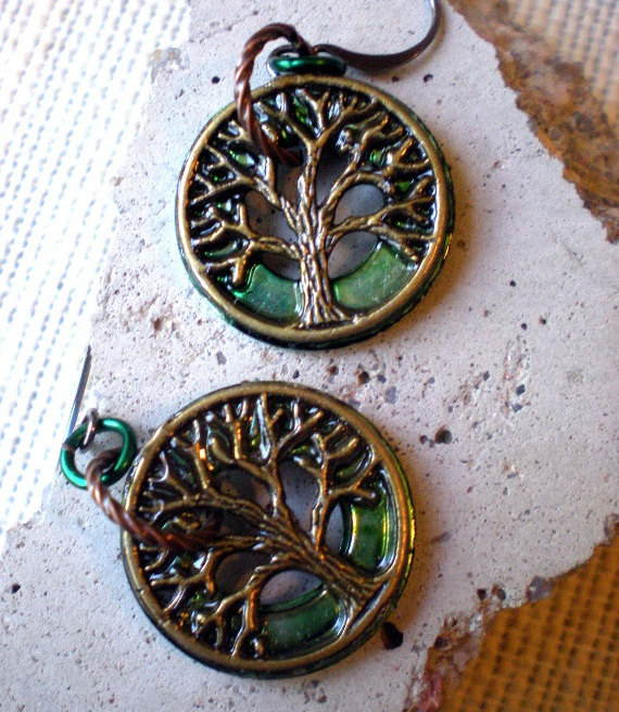 Tree of Life Earrings - Dark Green