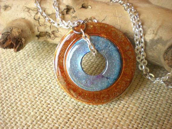 Washer Necklace: Orange and Blue