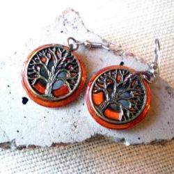 Tree of Life Earrings: Fiery Orange