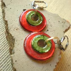 Washer Earrings: Red and Green